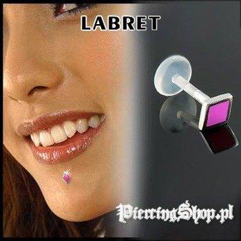 KOLCZYK DO BRODY LABRET(bioplast) TRAPEZ kolor oczka RÓŻOWY [LA-162]