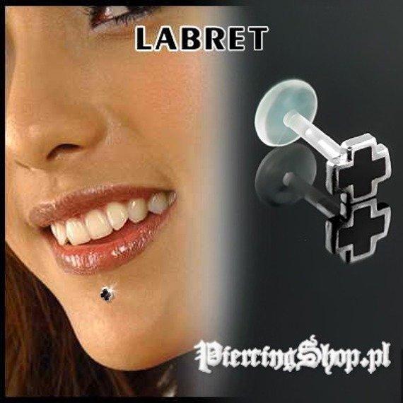 KOLCZYK DO BRODY LABRET(bioplast) KRZYŻ kolor oczka CZARNY [LA-151]