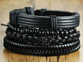 bransoletka BOHO BLACK, zestaw 4 bransoletek
