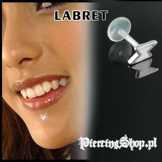 KOLCZYK DO BRODY LABRET(bioplast) BŁYSKAWICA kolor oczka BIAŁY [LA-158]