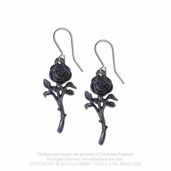 kolczyki ROMANCE OF THE BLACK ROSE (PARA)